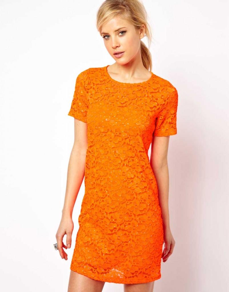 orange klänning asos